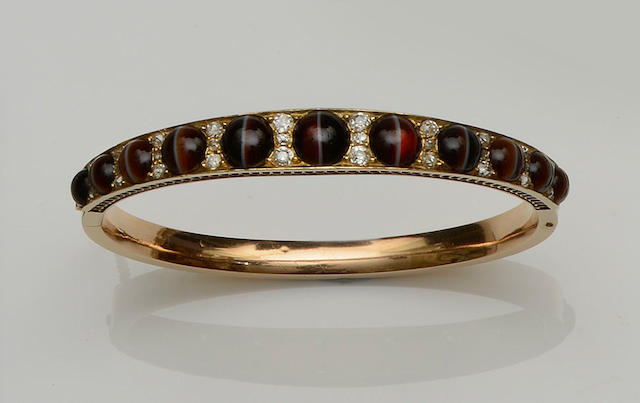 A Victorian banded agate and diamond bangle