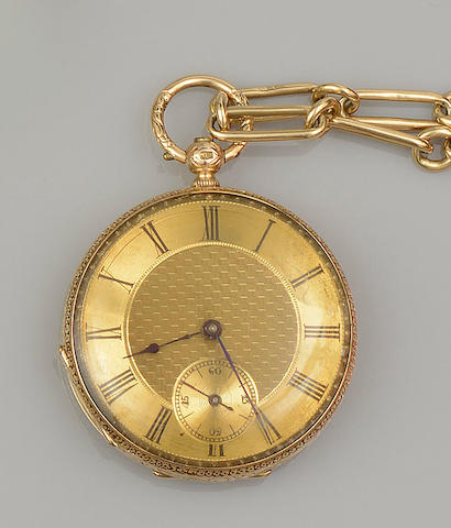 An 18ct gold Albert chain, supporting a fob watch