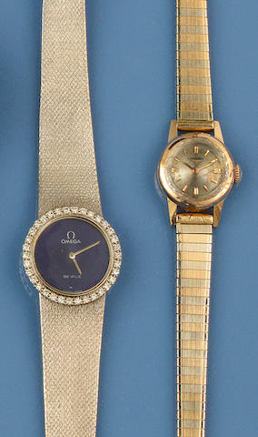 Omega: A lady's diamond set wristwatch and a wristwatch, by Longines(2)