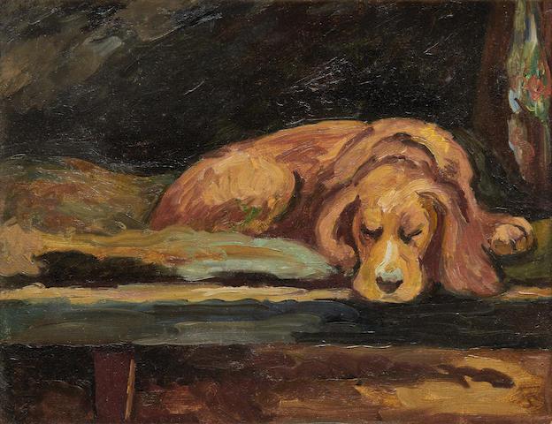 Vanessa Bell (British, 1879-1961) Viginia and Leonard Woolf's spaniel, Pinker