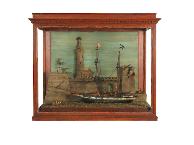 A large waterline diorama model of a French Brigantine. 36x19x30.8ins. (92x48x78cm)
