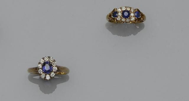 Two 18ct gold sapphire and diamond rings (2)