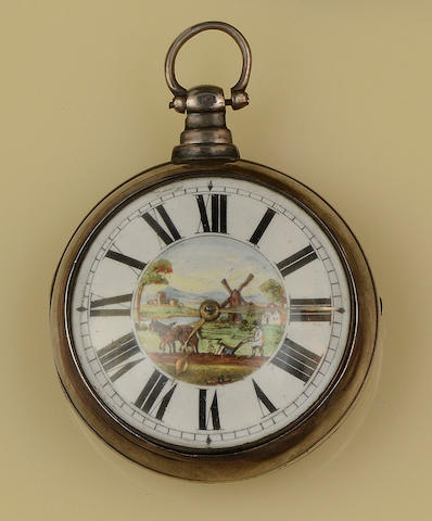 C Edmonds, London: A silver pair cased pocket watch