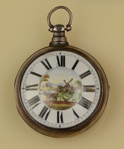 C Edmonds, London: A silver pair cased pocket watch