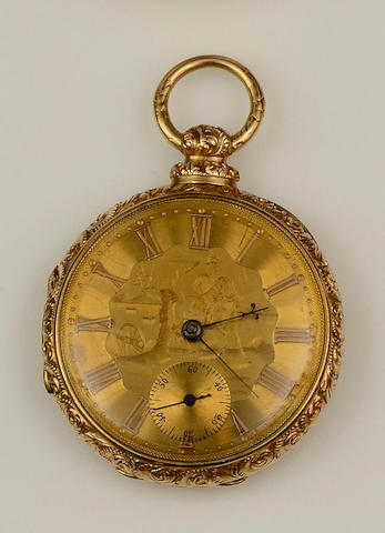An open faced pocket watch