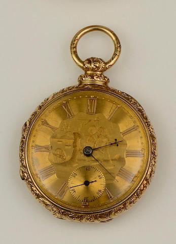 An open faced pocket watch