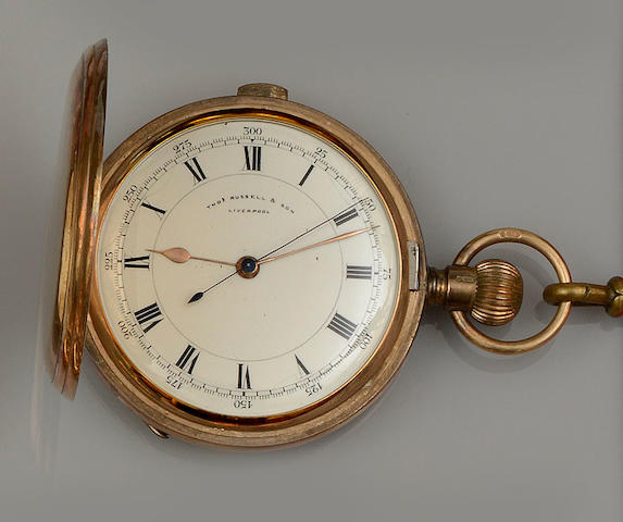 Thos. Russell & Son, Liverpool: A 9ct gold full hunter pocket watch