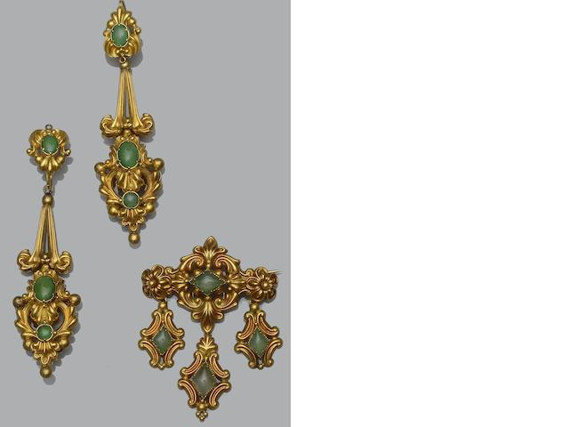 A pair of green stone earpendants and a matched brooch