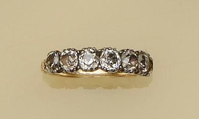 An antique seven stone diamond stone ring