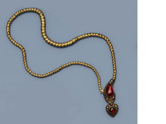 A Victorian garnet set serpent necklace