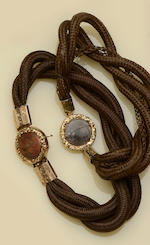 Two chain necklaces and two 19th century hairwork bracelets