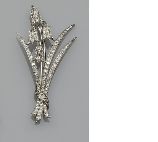 A diamond floral spray brooch/pendant