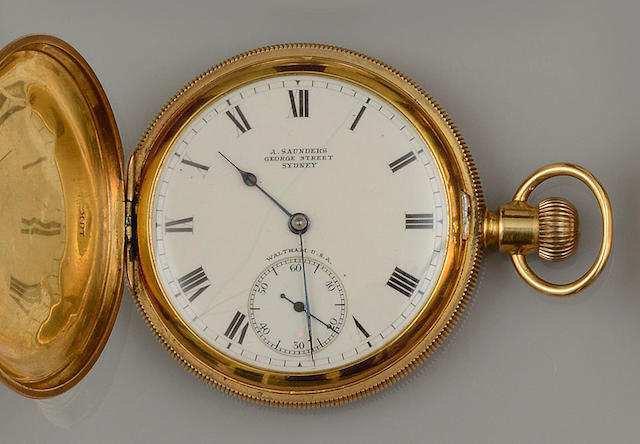 A. Saunders, George Street, Sydney: An 18ct gold hunter Waltham pocket watch