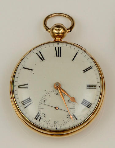 An early 19th century 18ct gold open face pocket watch