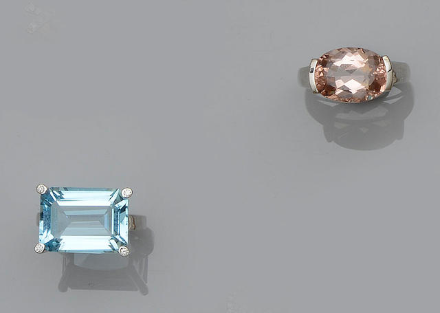 A blue topaz and diamond ring and a morganite ring (2)