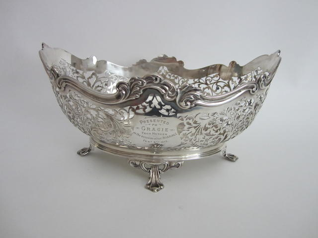 A silver oval pierced presentation basket Sheffield 1914