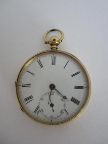 18ct gold open-faced, keyless wound pocket watch by Alex Cairns, Liverpool