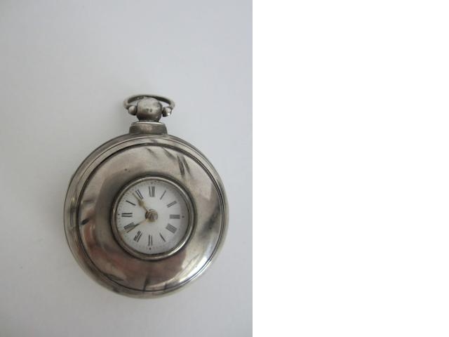 A Victorian silver pear cased verge half hunter pocket watch by G Bradshaw, Whitchurch, case London 1841