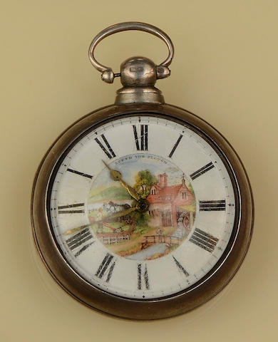 A silver pair-cased pocket watch