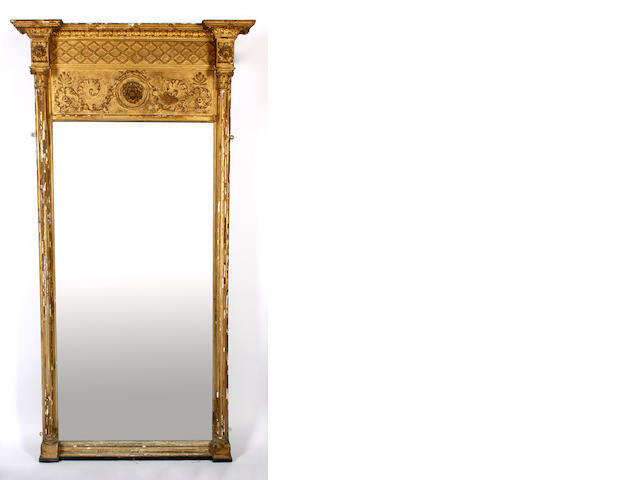 A Regency gilt and gesso pier glass,