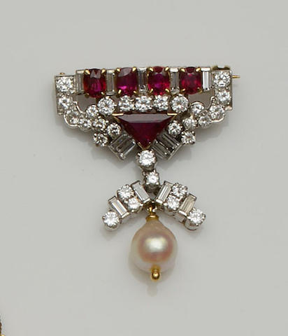 A ruby, diamond and cultured pearl brooch