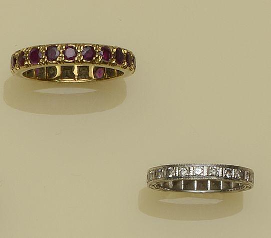A ruby full hoop eternity ring and a diamond half hoop eternity ring (2)