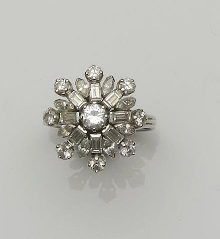 A diamond snowflake cluster ring