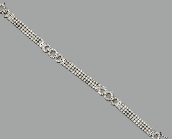 A modern Art Deco style diamond bracelet