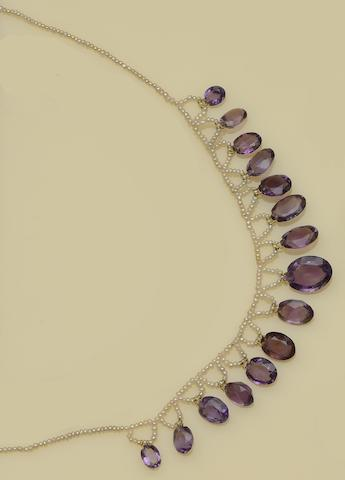 A late Victorian amethyst and seed pearl fringe necklace