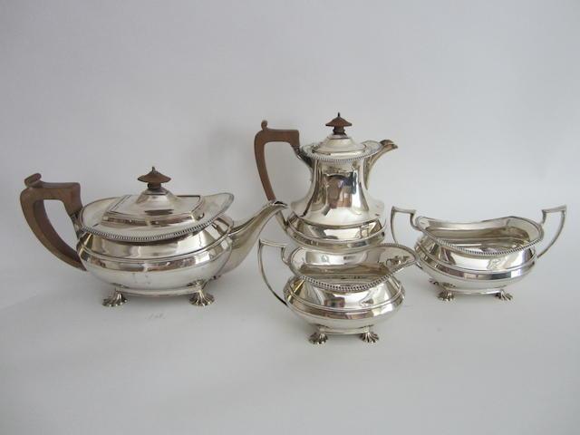 A four piece silver tea service Sheffield 1932