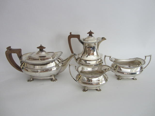 A four piece silver tea service Sheffield 1932