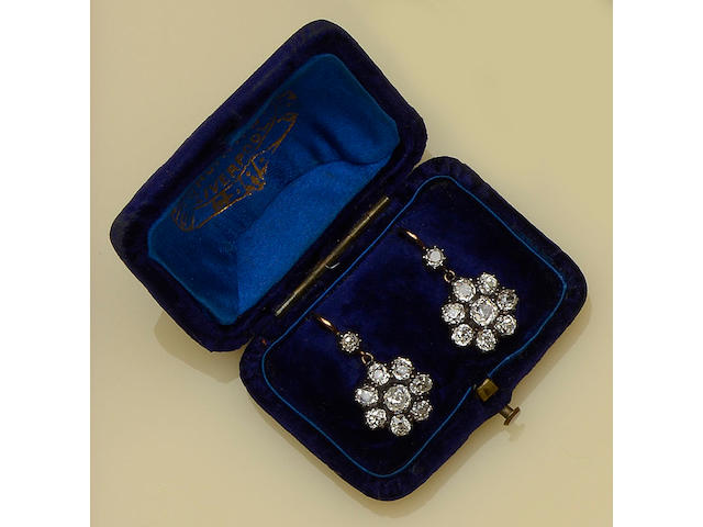 A pair of Victorian diamond cluster earrings