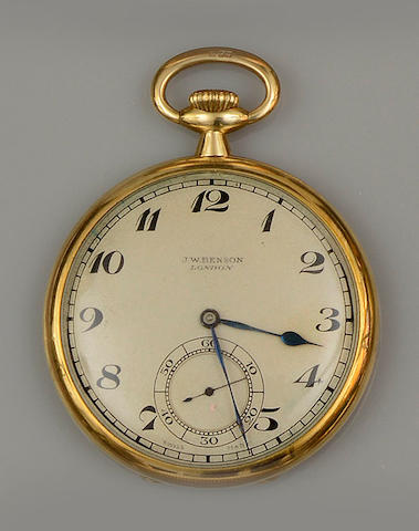 A slim 18ct gold open faced pocket watch