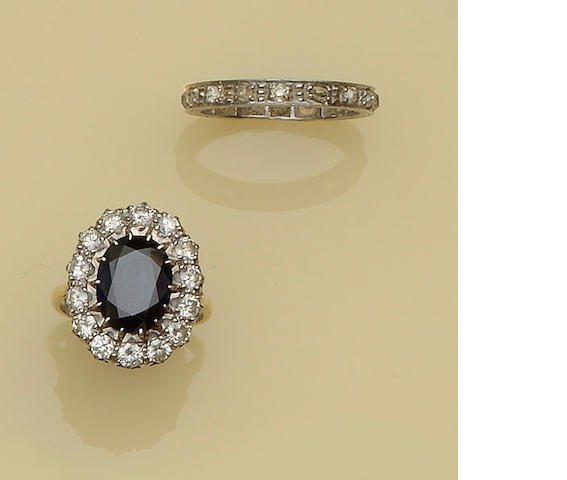 A sapphire and diamond cluster ring and a diamond eternity ring (2)