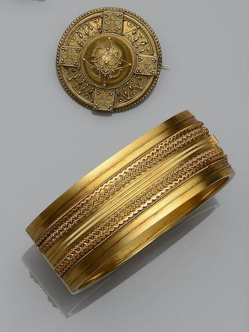 A Victorian hinged bangle and brooch (2)