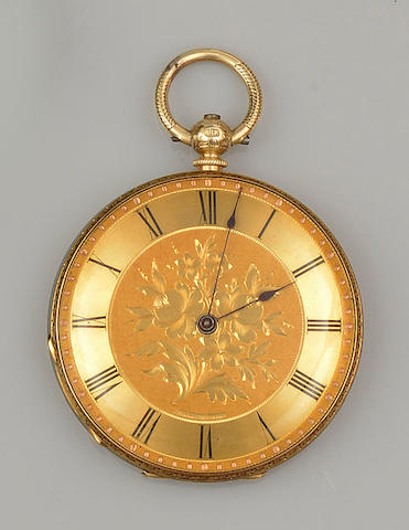 An open face slim pocket watch
