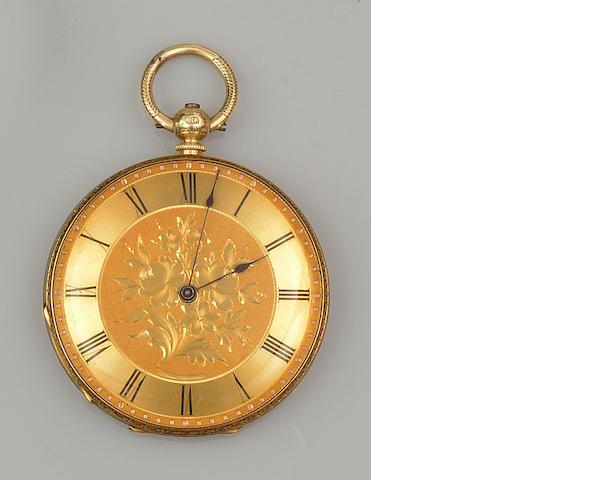 An open face slim pocket watch