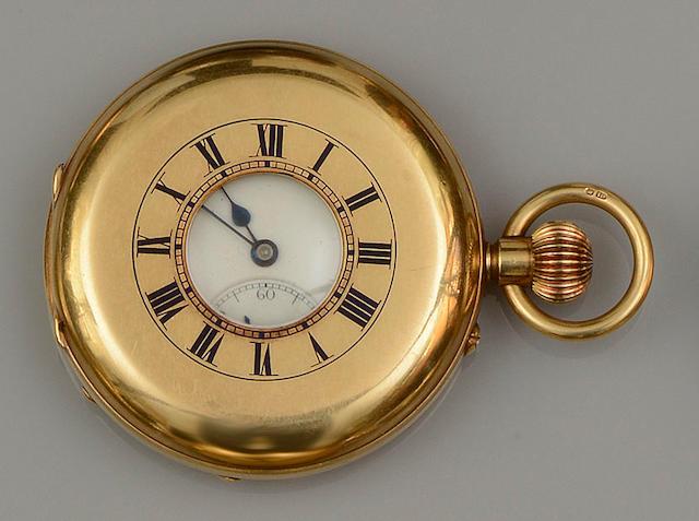 An 18ct gold half hunter pocket watch