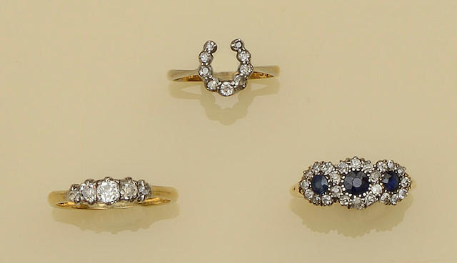 Three gem set rings (3)