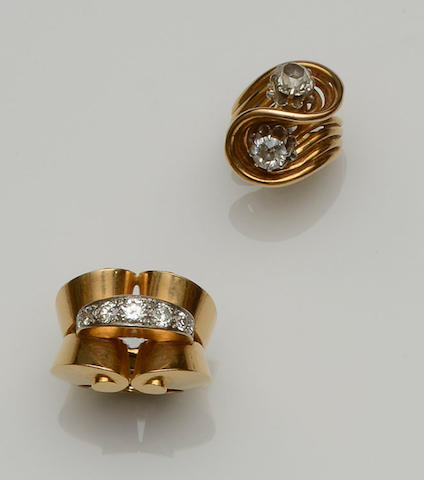 Two French diamond set rings (2)