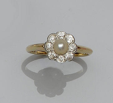 A diamond ring and a pearl and diamond cluster ring (2)