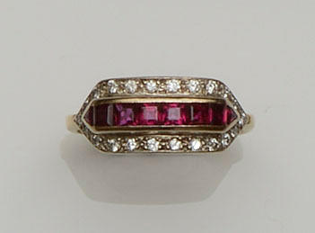 A ruby and diamond panel ring and a diamond eternity ring (2) (2)