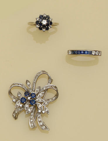 A small collection of sapphire and diamond jewellery (3)