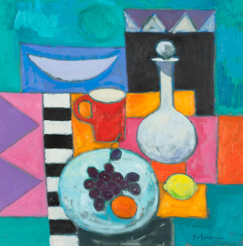 Jack Morrocco (British, 1953) Brandy Jar and Black Grapes 50.8 x 50.8 cm. (20 x 20 in.)