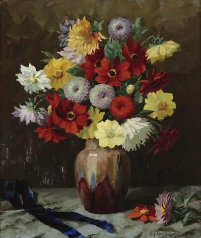 Wenzel Hermann Wendlberger (German, 1882-1945) Summer flowers in a vase