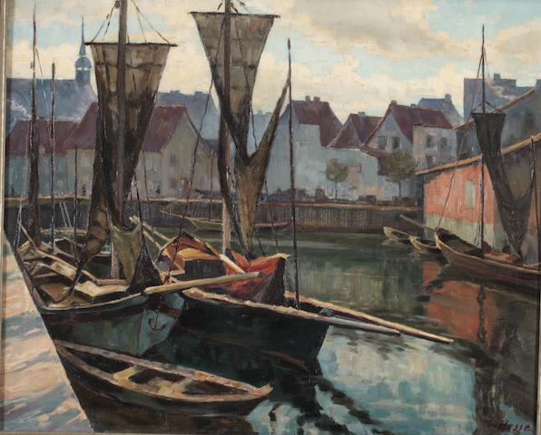 Georg Hesse (German, 1845-1920) Boats in a port 69 x 83cm