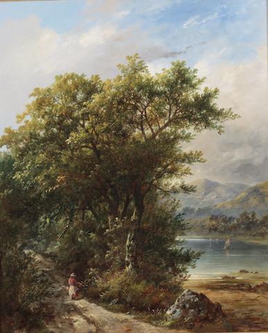 James (le Boxeur) Ward (British, 1800-1884) A figure on a road beside a loch