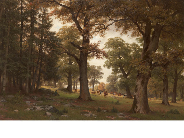 Fritz Carl Werner Ebel (German, 1835-1895) Cattle in a parkland