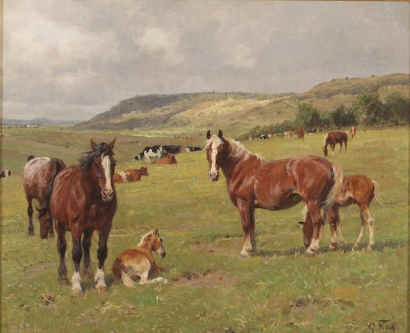 George Karl Koch (German, 1857-1930) Horses