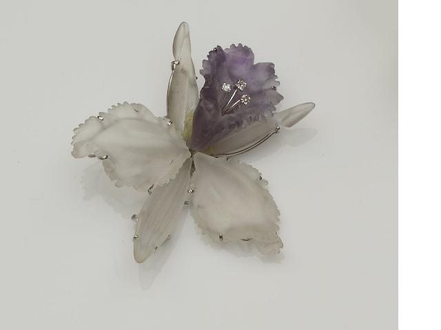 A rock crystal and amethyst orchid brooch